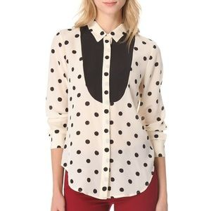 NWT✨ Madewell Silk Dotted Tux Shirt
